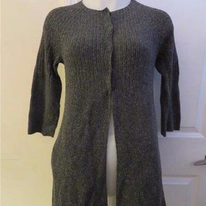 EILEEN FISHER PETITE 100% SILK GRAY  CARDIGAN P/S